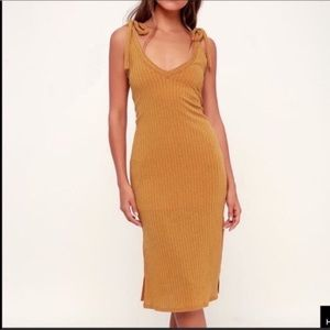 Lulus tie strap ribbed mustard midi dress